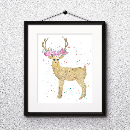 Boho Deer Art Prints Printable Watercolor Art Print Painting Poster Home Wall Art Instant Download Art