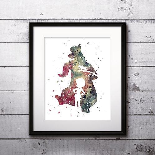 The Jungle Book Disney Nursery Art prints, wall art print, watercolor painting, Printable art, Home Decor