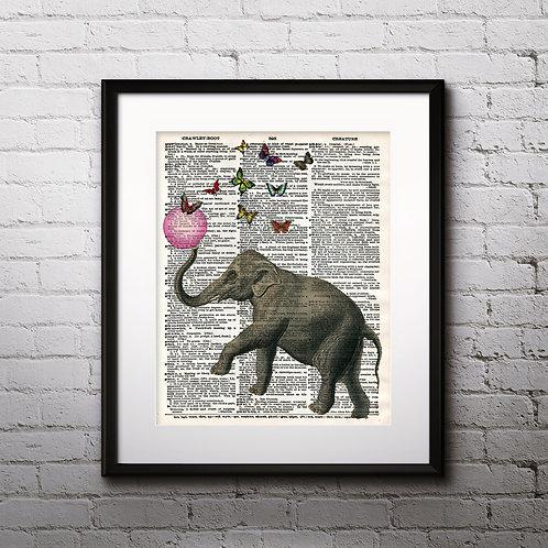 Elephant Vintage Dictionary Art Prints Digital Poster Home Decor mixed media art print