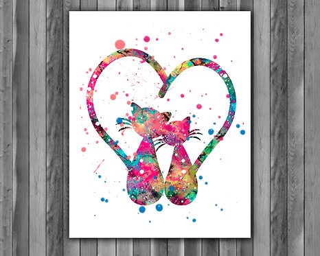Cats Love art print, Cats Printable, Cats watercolor, Cats Print, Cats Love, Cats Art, Cats painting