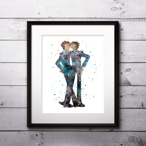 Hikaru and Kaoru Hitachiin, Ouran Highschool Host club - Art Print, instant download, Watercolor Print, Anime watercolor