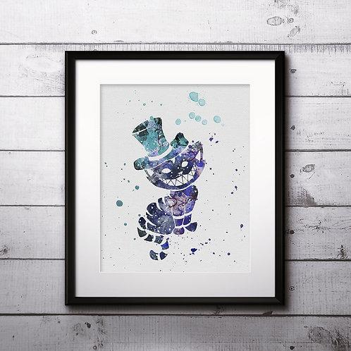 Cheshire Cat - Alice's adventures in wonderland, Art Print, instant download, Watercolor Print, poster