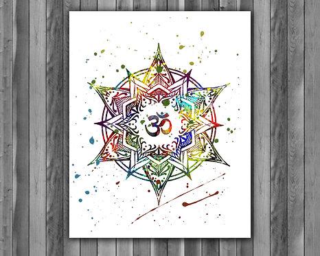 Mandala Printable Art, Mandala Art Print, Mandala watercolor,Mandala wall art, Mandala poster, Mandala painting