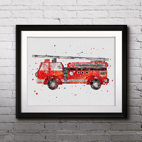 Firetruck Print, Fire Truck Printable, Fire Truck Decor, Transportation Print, Boy Bedroom Art