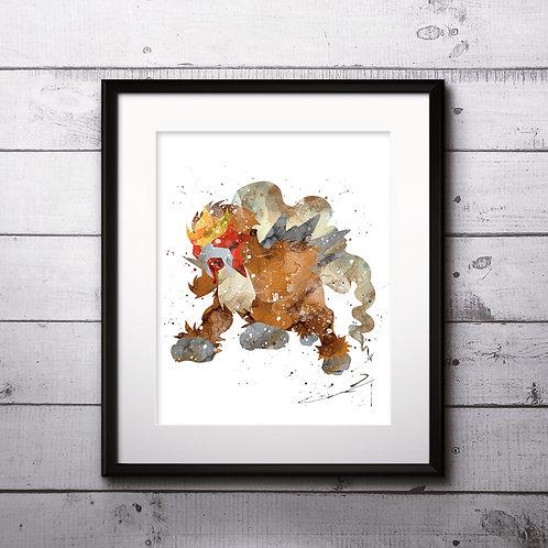 Entei pokemon poster- Art Print, instant download, Watercolor Print, Anime watercolor