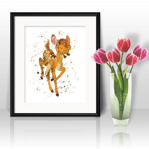 Bambi disney art nursery, children room art, children room decor, Bambi print, Bambi  poster, Bambi painting