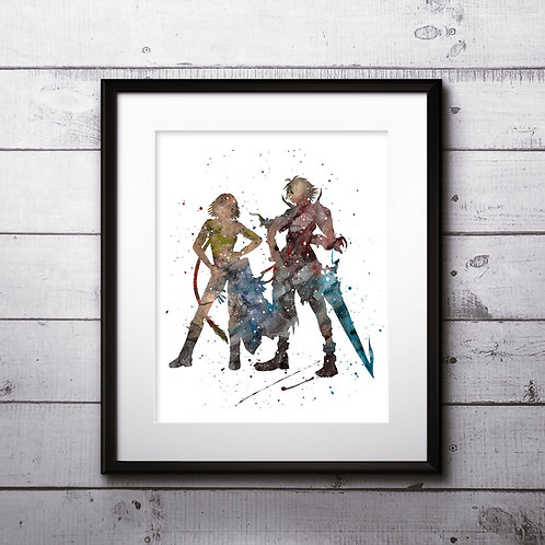 Tidus and Yuna, Final Fantasy X poster Nursery Art Print, instant download, Watercolor Print, Anime watercolor