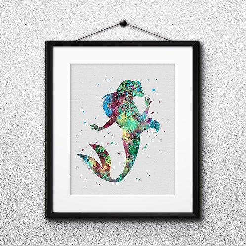 Ariel - The Little Mermaid Disney Art Prints Instant Download Printable Watercolor Art Nursery Prints Painting Poster Home
