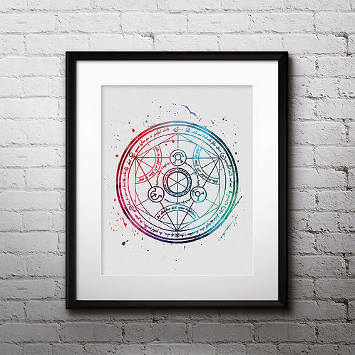 Transmutation circle, Fullmetal Alchemist Anime Watercolor Art, Anime Printable, Anime Print, Painting, Home Decor, Wall Art