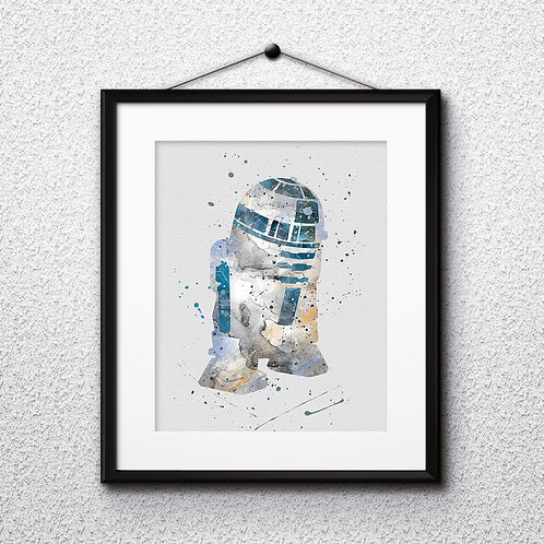 R2-D2 Star Wars, Buy Star Wars Painting, Buy Star Wars Art Print, Buy Star Wars Watercolor Print, Star Wars Poster