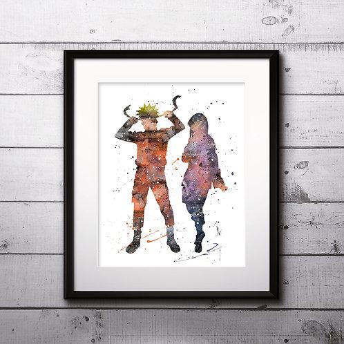 Naruto and Hinata, Naruto poster Nursery Art Print, instant download, Watercolor Print, Anime watercolor