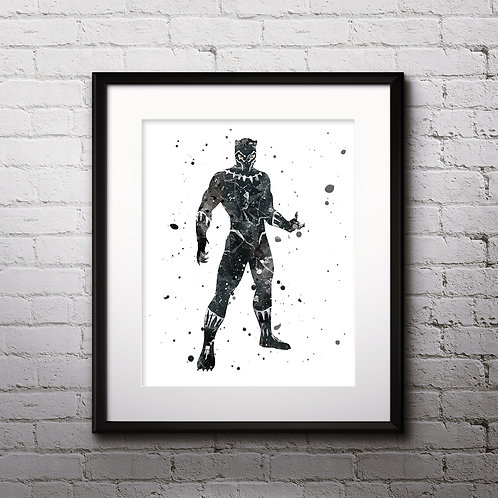 Black Panther superhero wall art prints, printable image, poster, watercolor art