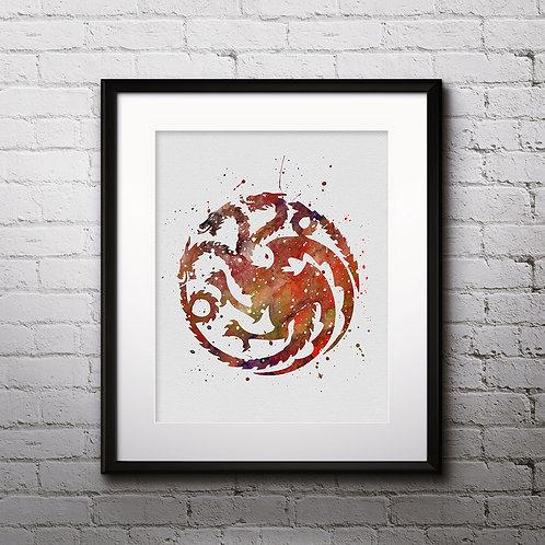 House Targaryen Print, Game of Thrones - watercolor, Art Print, instant download, Watercolor Print, poster