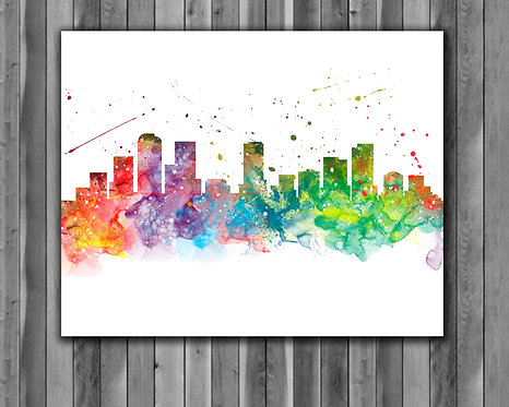 Denver Skyline Art Prints, Skylines Painting, Skylines Poster, Skylines watercolor, Skylines Wall Art, Skylines Home art
