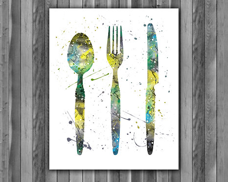Kitchen Cutlery Fork Knife Spoon watercolor, Kitchen Art Print, Kitchen art, Kitchen Print, Kitchen wall art, Kitchen poster