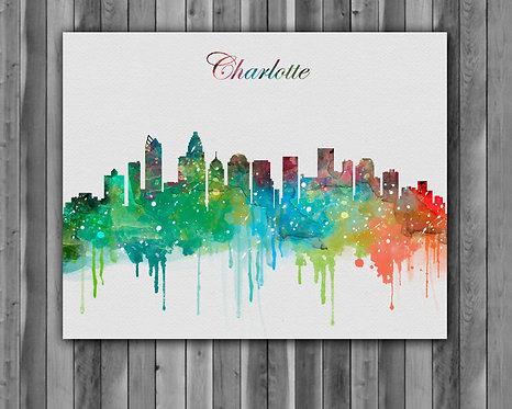 Charlotte USA Skylines Art, Skylines Art Print, Skylines Poster, Charlotte Skylines Print, Skylines Wall Art, USA art