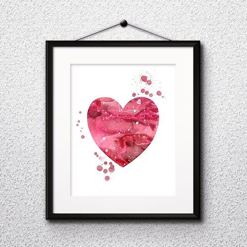 Heart Love Printable Art Print, buy art, buy digital image, buy painting, buy wall art, buy poster, buy watercolor painting,