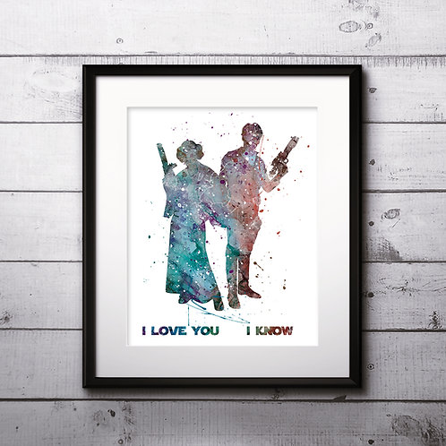 I love you - I know - Star Wars Poster, Han and Leia watercolor - Art Print, instant download, Watercolor Print