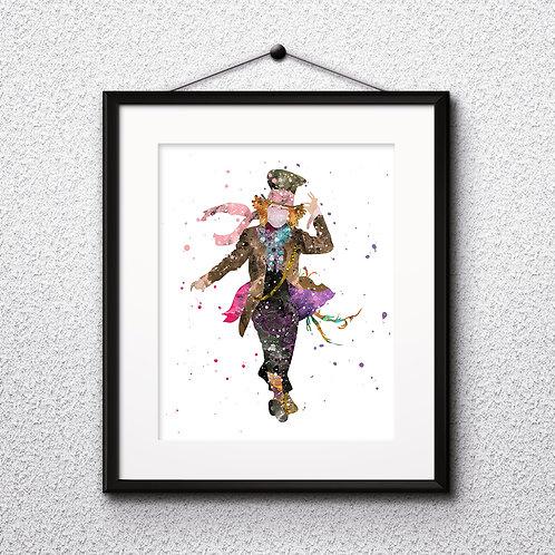 Alice in Wonderland The Hatter art Prints, The Hatter Posters, The Hatter watercolor, The Hatter wall art, The Hatter home