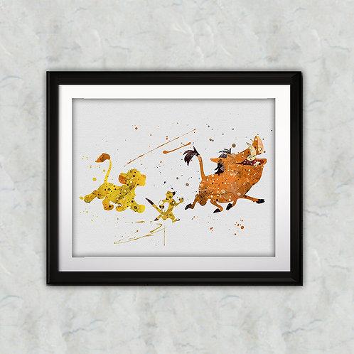 Timon & Pumbaa, Simba Disney art, Disney Poster, Disney Painting, Disney Art Print, Disney home decor, Disney Decor