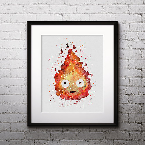 Calcifer Howl's Moving Castle Anime Art, Watercolor Printable, Anime Print, Painting, Home Decor, Wall Art Poster, buy poster