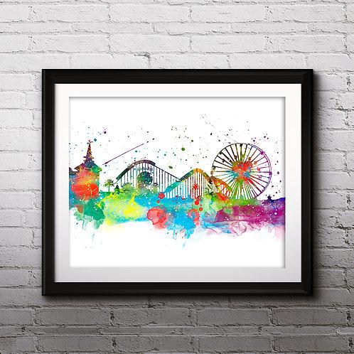 Disneyland CA Disney Places skyline Art, Disneyland Poster, Disneyland Painting, Disneyland print, Disneyland art print