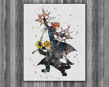 Kingdom Hearts Axel & Roxas Anime art prints, Anime wall art, Anime watercolor painting, Kingdom Hearts Anime art prints