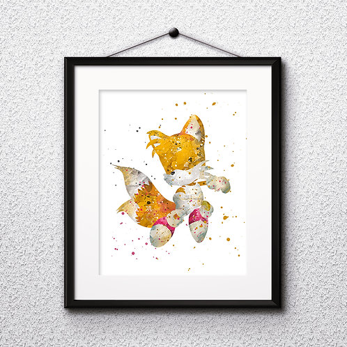 Tails - Sonic painting Printable Watercolor Art, Print ,Painting, Poster, Home Wall Art, instant download, Wall Art Poster