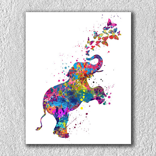 Elephant and Butterflies Art, Watercolor, Print, Poster, Printable, Painting, wall art, home decor, picture