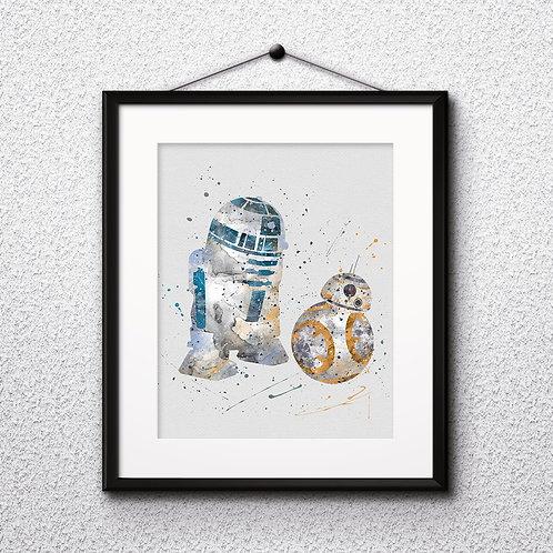 BB8 and R2-D2 Star Wars, Printable, Print, painting, poster, wall art room decor