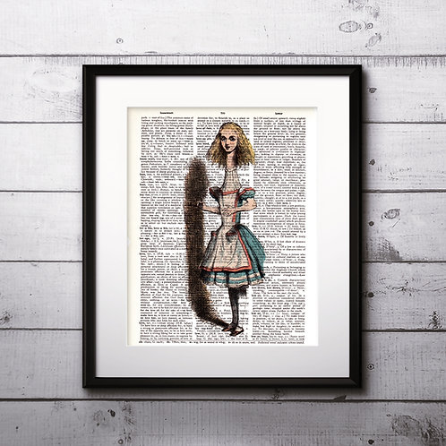 Alice in Wonderland Vintage Dictionary Art Prints Digital Poster Home Decor mixed media art print