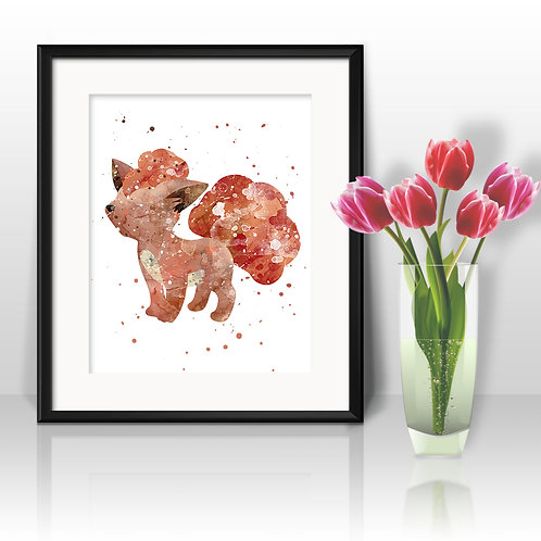 Vulpix Pokemon art Prints, Pokemon Posters, Pokemon watercolor, Pokemon wall art, Pokemon home decor