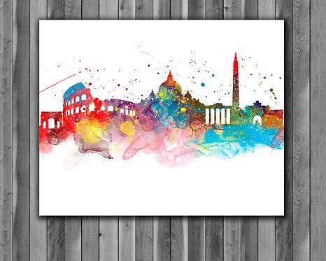 Rome Skyline Art Prints Skylines Painting Skylines Poster Skylines Wall Art Skylines watercolor Skylines Home art