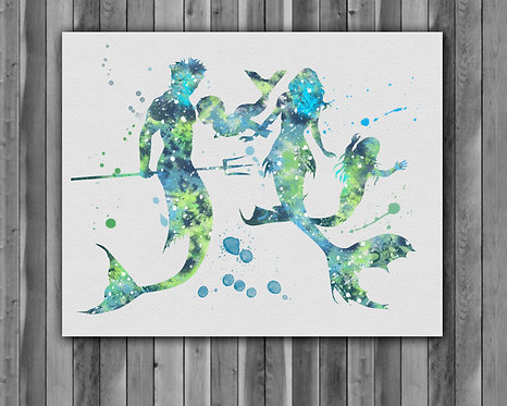 Mermaid Family art Instant Download, Mermaid Printable, Mermaid Print, Mermaid Painting, Poster, Mermaid Wall Art
