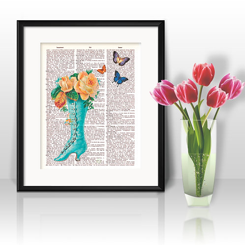 Flowers vintage Dictionary Wall Art painting Home Decor mixed media art print