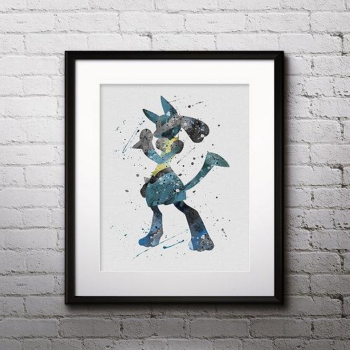 Lucario Pokemon Anime painting, buy Art Print, buy Poster, art Print, Wall Art, Watercolor wall art print, Home Decor