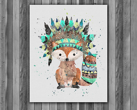 Fox Boho art Instant Download, Printable, Fox Boho Print, Painting, Poster, Fox Boho Wall Art