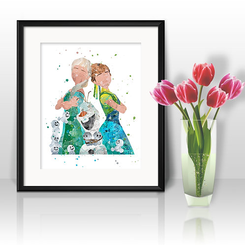 Disney Frozen Art Prints, Poster, watercolor, Painting, Art, Wall Art, Home Decor, Printables