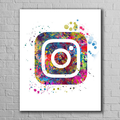 Instagram logo Art, Watercolor, Print, Poster, Printable, Painting, wall art, home decor, picture