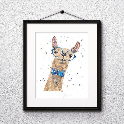 Hipster Llama in Glasses  Art Prints, Posters, Watercolor Art, Wall art, home decor, Printable Art, Art Prints, Painting