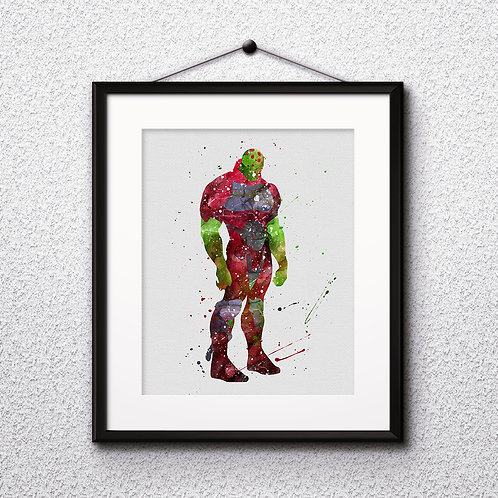Brainiac supervillain DC Comics watercolor Printable Poster, Art Print, instant download, painting, Watercolor Print, Home De