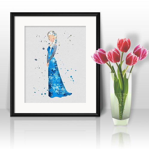 Frozen Elsa art prints, printable image, wall art, watercolor painting