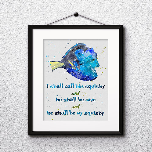 Finding Nemo quote poster - watercolor, Art Print, instant download, Watercolor Print, painting