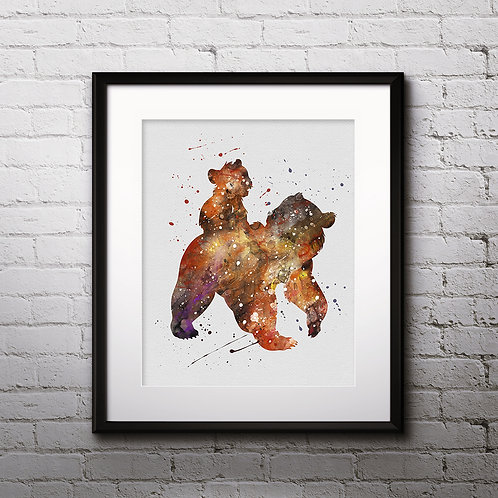 Brother Bear Disney Art, Watercolor Printable, Print, Painting, Home Decor, Wall Art Poster, buy poster, buy print
