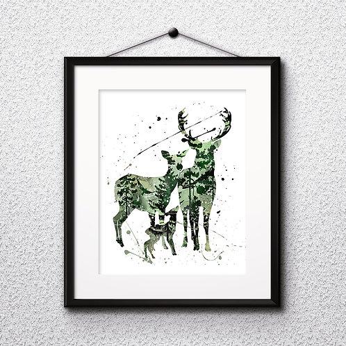 Deer Family Art, Deer Family Poster, Deer Family Painting, Deer Family print, Deer Family