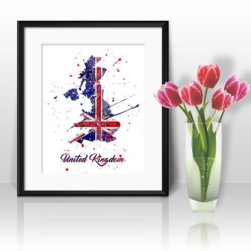 United Kingdom map Art, United Kingdom Poster, United Kingdom Painting, United Kingdom Art Print, United Kingdom Wall Art