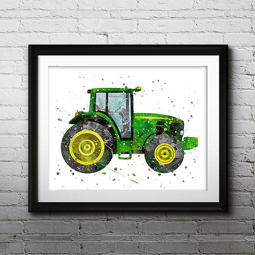 John Deere Tractor Truck Art Print, Nursery Wall Art, Truck Decor, Truck Wall Decor, Truck Nursery