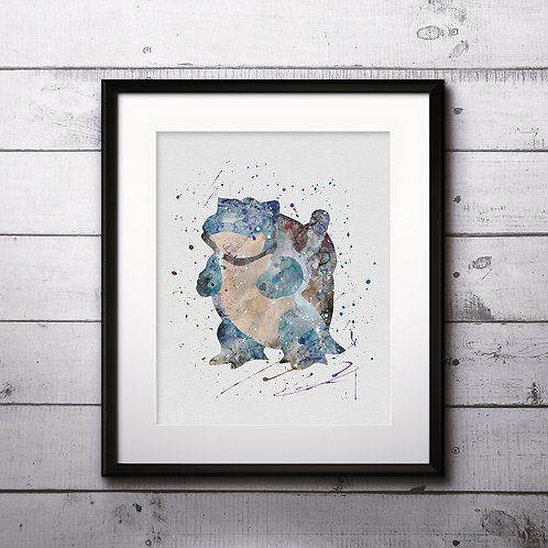 Blastoise Pokemon Anime painting Printable Watercolor Art Print Painting Poster Home Wall Art instant download Wall Art