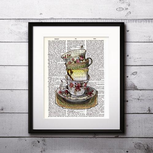 Tea Vintage Dictionary Art Print Kitchen Art Prints Digital Poster Home Decor mixed media art print