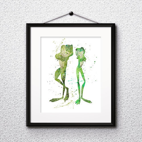 Princess Tiana and frog prince,The Princess and the Frog DISNEY Painting - watercolor, Art Print, instant download, Watercolo